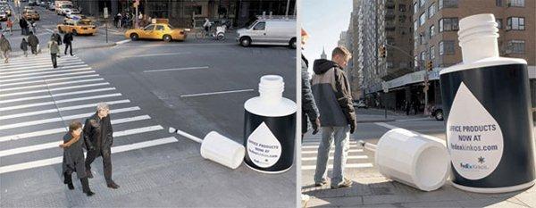 Marketing guerilla in a zebra crossing